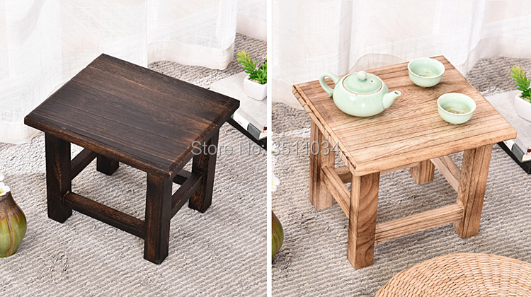 Home Furniture Selfless New Rectangle Japanese Antique Wooden Stool Paulownia Wood Asian Traditional Furniture Living Room Portable Small Wood Low Stool