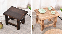 New Rectangle Japanese Antique Wooden Stool Paulownia Wood Asian Traditional Furniture Living Room Portable Small Wood Low Stool