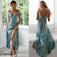 New Fashion Women Long Boho Maxi Dress Sleeveless V Neck Female Backless Summer Geometric Printed Holiday Party Sundress