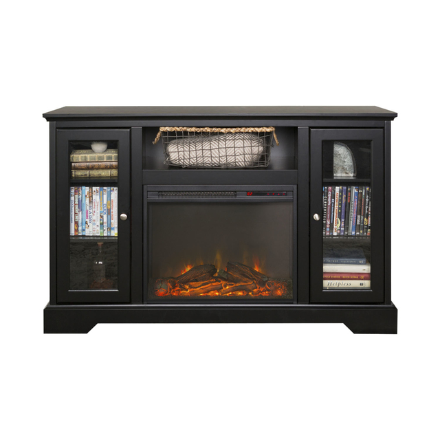 We Furniture 52 Highboy Fireplace Wood Tv Stand Console Black In Tv