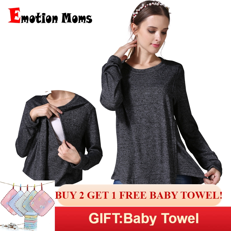 Emotion Moms Winter Autumn Maternity Clothes long sleeve Maternity T-shirt Breastfeeding Clothes for Pregnant Women Nursing tops
