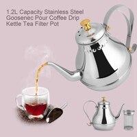 Aço inoxidável bule gooseneck despeje café gotejamento chaleira filtro de chá pote de café interior chaleira gotejamento