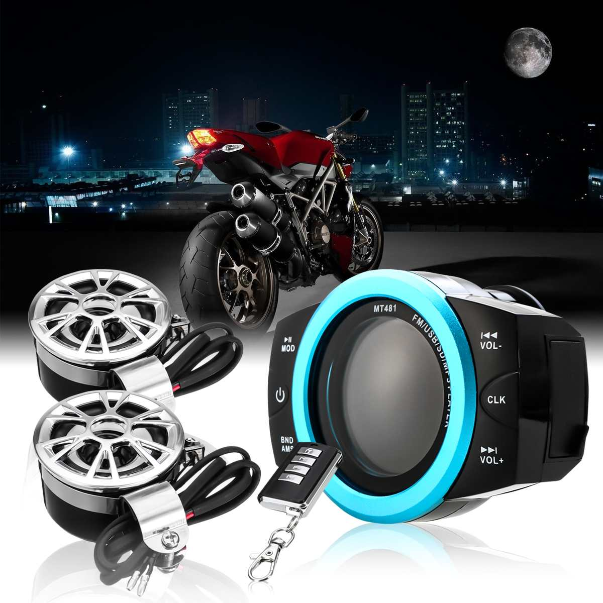 Universal Motorcycle Anti-theft Audio Radio System Stereo FM/TF/USB/SD/MP3 Waterproof