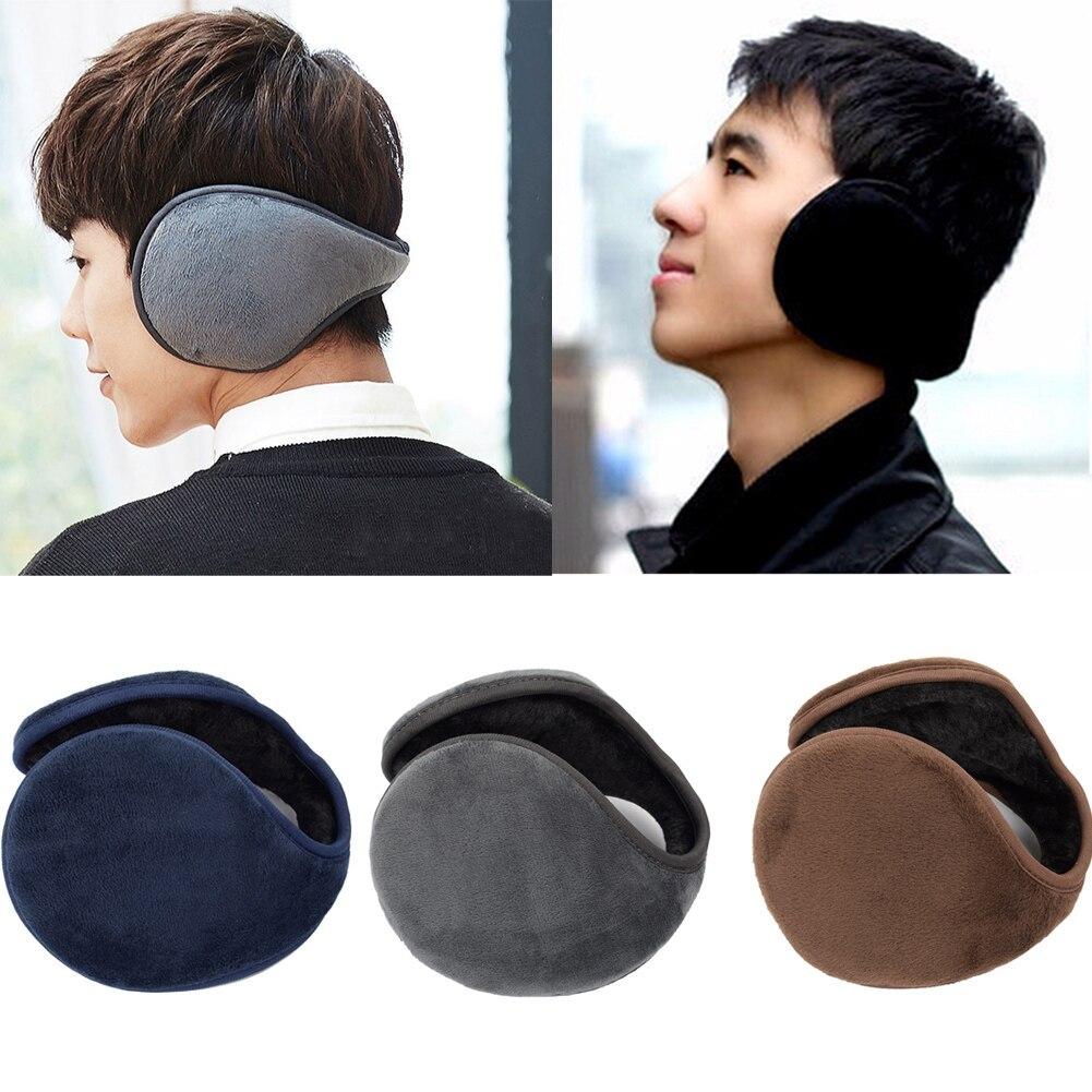 Men Winter Warm Ear Warmer Thicken Adjustable Earmuff Soft Casual Plush Earflap Male Solid Color Winter Warm Ear Protect