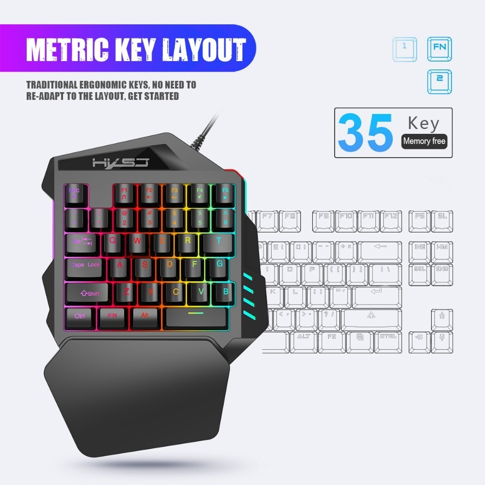 Image 5 - New Arrival V100 1.6m Wired Gaming Keyboard Mechanical Feel Backlight 35 Keys One handed Keyboard Black For Pc Mini Keyboard-in Keyboards from Computer & Office