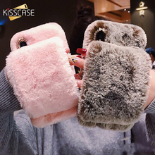 KISSCASE Glitter Case For iPhone 7 8 6 6s Plus Fluffy Rabbit Fur WristBand Cover Xr X Xs Max Bling Diamond Caso Funda