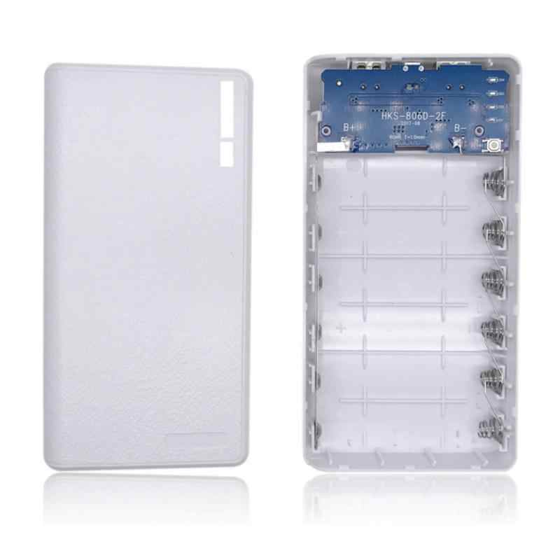 New Portable 4/6 18650 Batteries Power Bank Outer plastic Case USB Charging Power Bank Micro USB DC 5V 1A Input