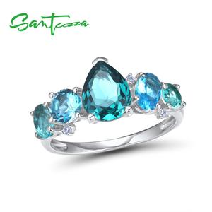 Image 2 - SANTUZZA Silver Jewelry Sets For Women 925 Sterling Silver Blue Green Crystal White CZ Earrings Ring Set  Party Fashion Jewelry