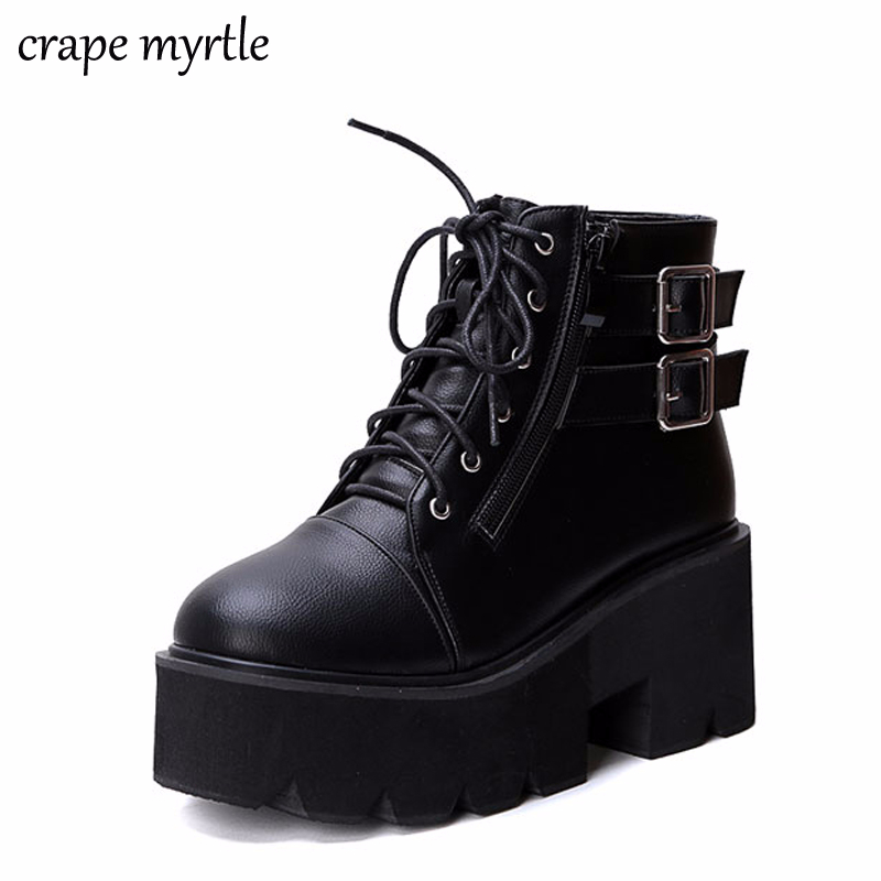 lace up Boots 2019 Fashion Thick Heel Ankle Boots Women High Heels Autumn Winter Woman Shoes punk boots platform shoes YMA413-in Ankle Boots from Shoes
