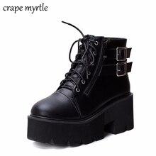 Ботинки на шнуровке, коллекция 2019, Модные ботильоны на толстом каблуке, женская обувь на высоком каблуке, сезон осень-зима, женские ботинки в стиле панк, обувь на платформе, YMA413