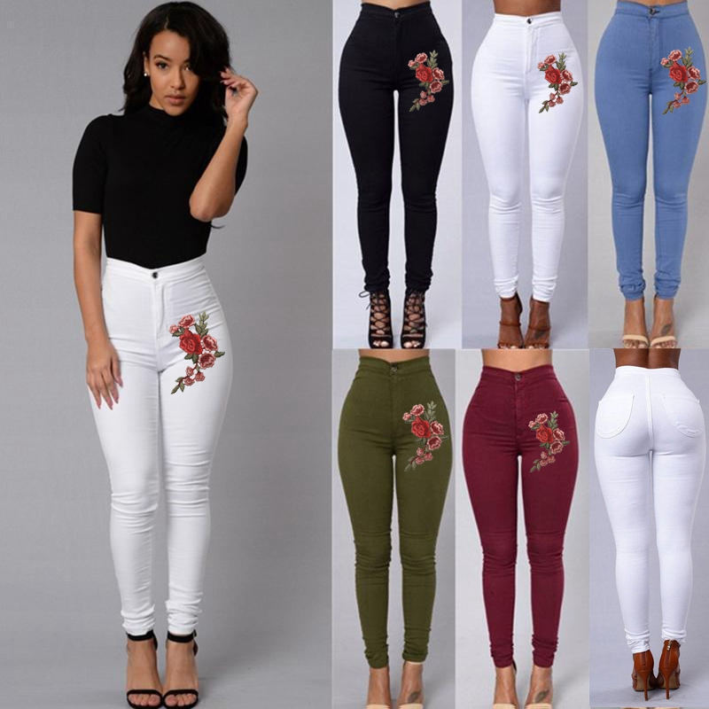 Fashion Women Ladies Denim Skinny Leggings Long Pants Trousers Embroidery Flower High Waist Stretch Jeans Rose Pencil Trousers