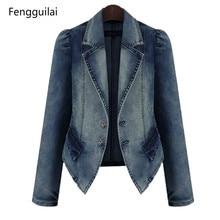 Spring Women's Denim blazer Jeans Coat Slim bomber jacket Suit Turn Down Collar