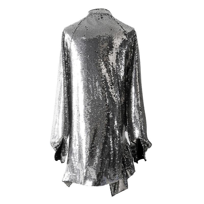 Inverno Alto 2019 Donne Lunghe Joint Nuovo Di Jk820 Vestito Sexy Silver Split Modo Paillettes eam Delle Marea Collo Color Primavera A Maniche Bordo Irregolare wdXEnqHx