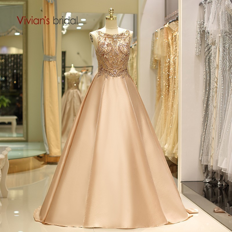 Vivian's mariée 2018 Vintage o-cou soie Satin longues robes de soirée de luxe Sequin perle cristal sans manches balayage Train robe formelle
