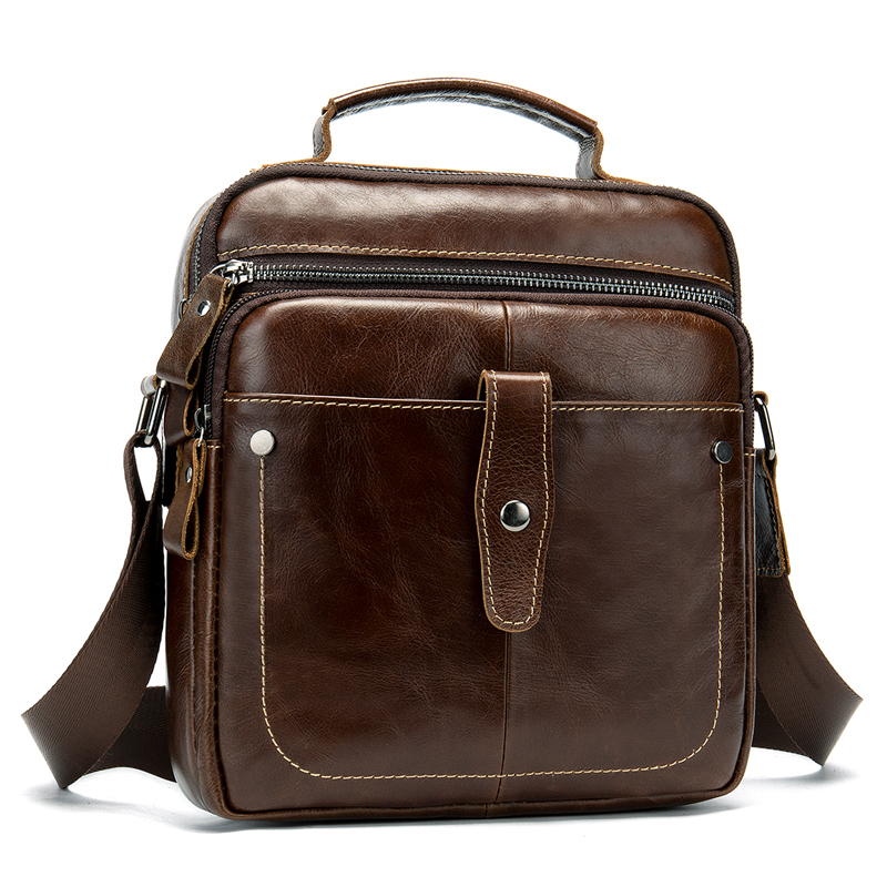 Coffee Men Travel Bags Genuine Leather Messenger Bag For Businessman High Quality Cross Body Shoulder Bags
