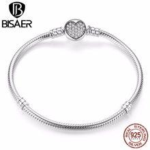 d1a21b9a5902 BISAER pulsera genuina plata 925 joyería serpiente cadena brazalete y pulsera  plata 925 joyería Original San Valentín regalo 201.