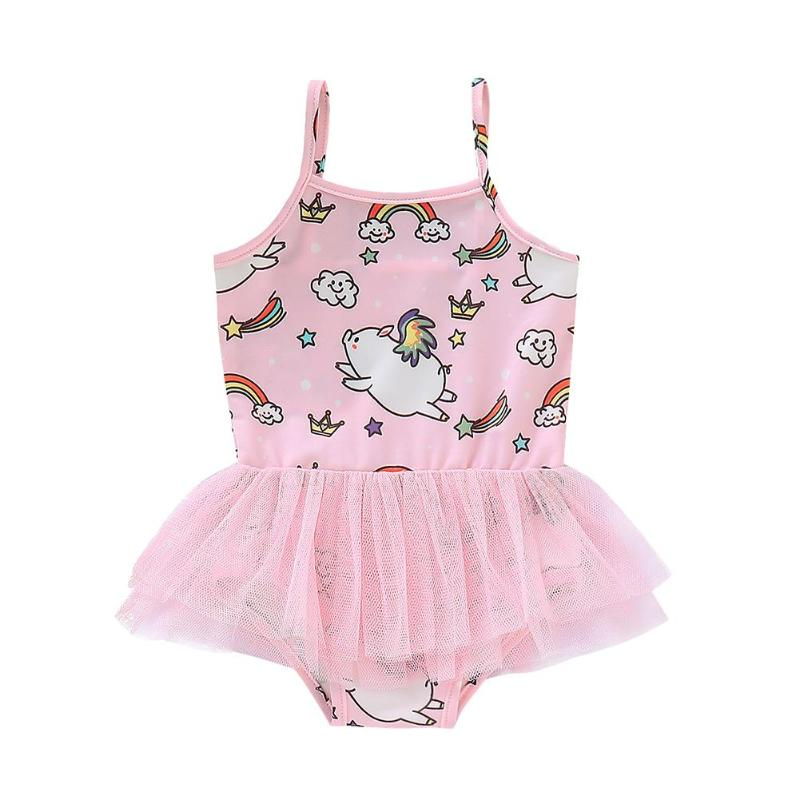 One Piece Swimwear Sling Mesh Swimsuit Kid Girl Cute Pig Print Bathing Suit Swimwear