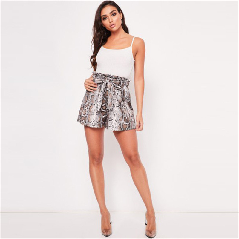 Snake Print High Waist Shorts Women Paper Bag Sexy Elegant Fashion Lace Up Ruffle Mini Ladies Shorts Skirts
