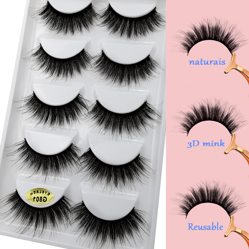 0e22115ff5c false eyelashes 5 pairs fake mink lashes 18mm dramatic false lashes 100%  Cruelty Free mink eyelashes natural 3d mink hair lashes