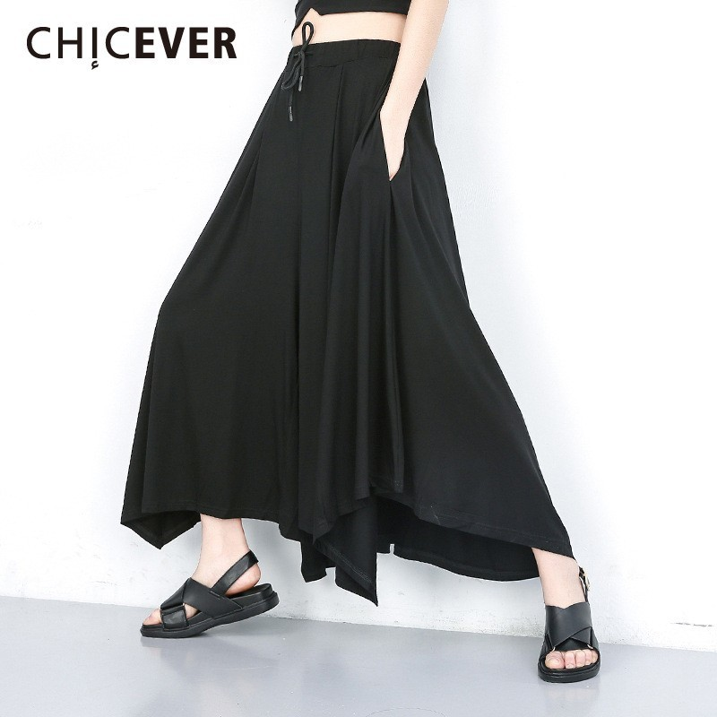 CHICEVER Summer Casual Solid Black Women Pant Elastic Mid Waist Pockets Loose Plus Size Ankle Length Wide Leg Pants 2019 Fashion