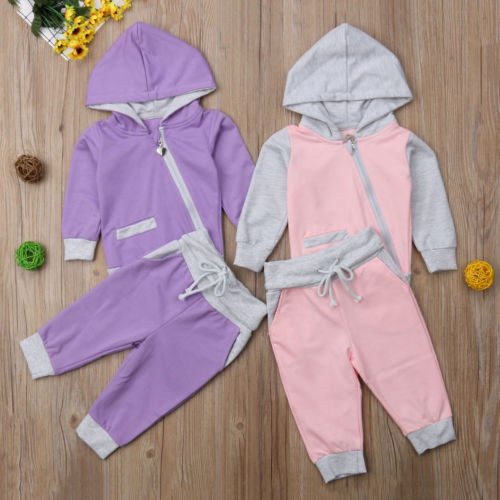 Toddler Baby Girls Clothes Tracksuit Long Sleeve Zipper Hooded Tops+Long Pants Trousers 2Pcs Autumn Outfits Set