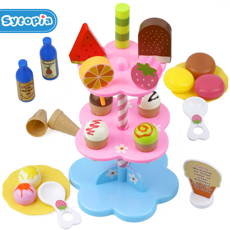 Ice Cream Toy Girl Favorite Shop Supermarket Children Playing Home  Kids Pretend Play Simulation Educational Toy 3 years+
