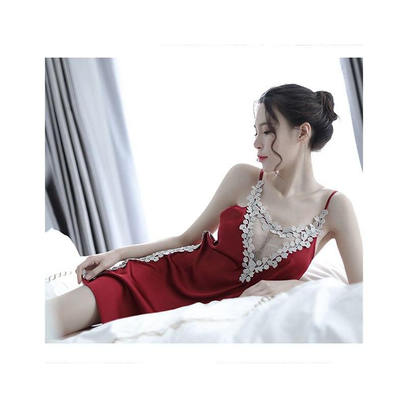 2019 Women Sexy Nightwear Lace Nightgown Backless Sleepwear Sling Dress Embroidered Perspective Night Skirt Nightdress in Nightgowns Sleepshirts from Underwear Sleepwears