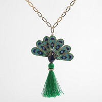 Free shipping enamel glaze colored drawing peacock charm personality necklace sweater chain