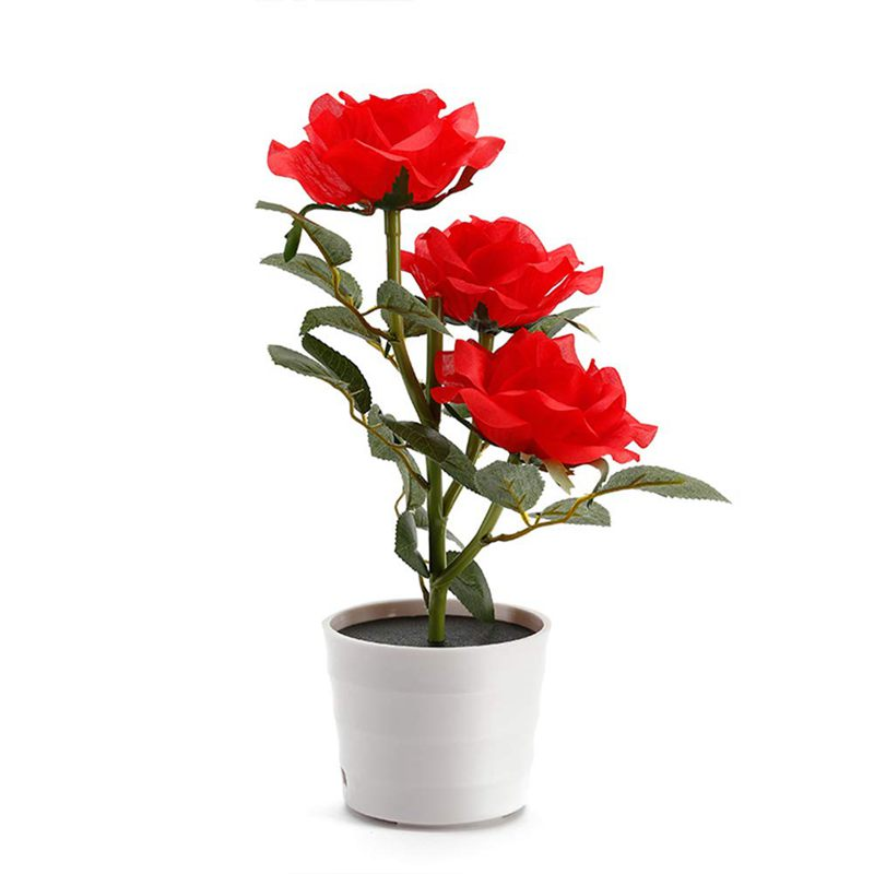 Led Artificial Plant Rose Balcony Lawn Garden Table Lamp Home Decorative Bedside Solar Powered Bedroom Flower Pot