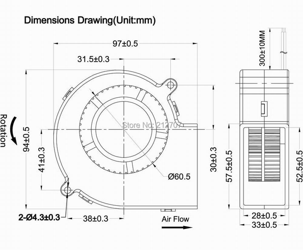 Купить с кэшбэком 1 Piece High Air Pressure 2Pin 9733 97x33mm 97mm Air Flow Cooler 12V Brushless DC Blower Fan