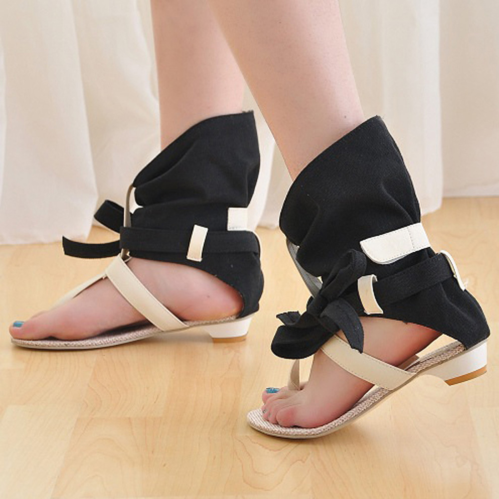Women Canvas Sandals Open Toe Bow Buckle Leather Flats High Top Sandals New Style Beach Flip Flops Summer Black Beige Sandals in Women 39 s Sandals from Shoes