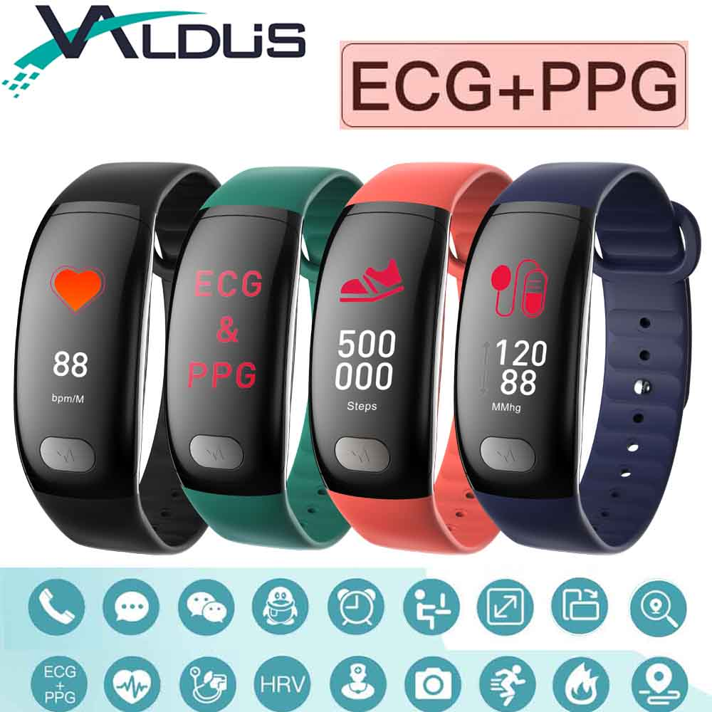 Valdus B51 Smart Bracelet Wristband ECG Heart Rate Detection Blood Pressure Fitness Tracker Smartband For Android