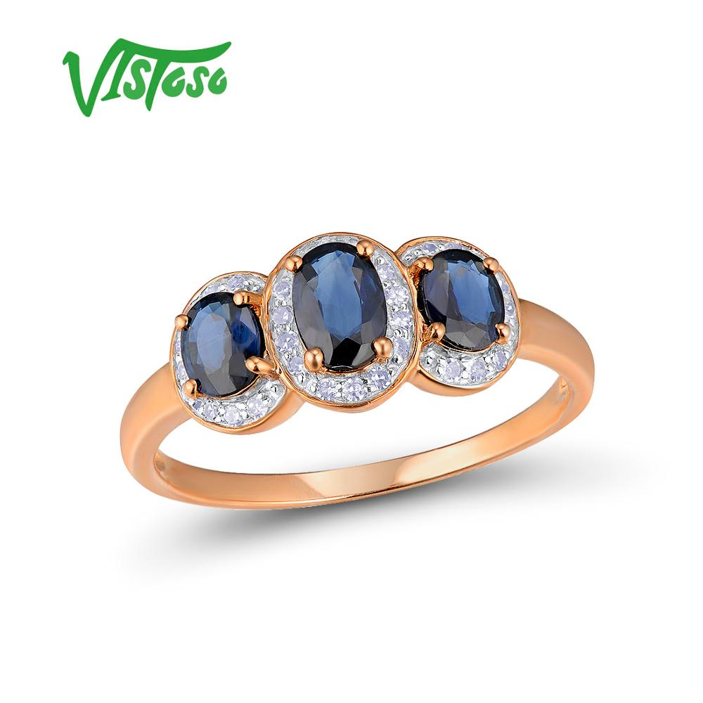 b516ba33c96 VISTOSO Gold Rings For Women Genuine 14K 585 Rose Gold Ring Sparkling  Diamond Blue Sapphire Engagement Anniversary Fine Jewelry