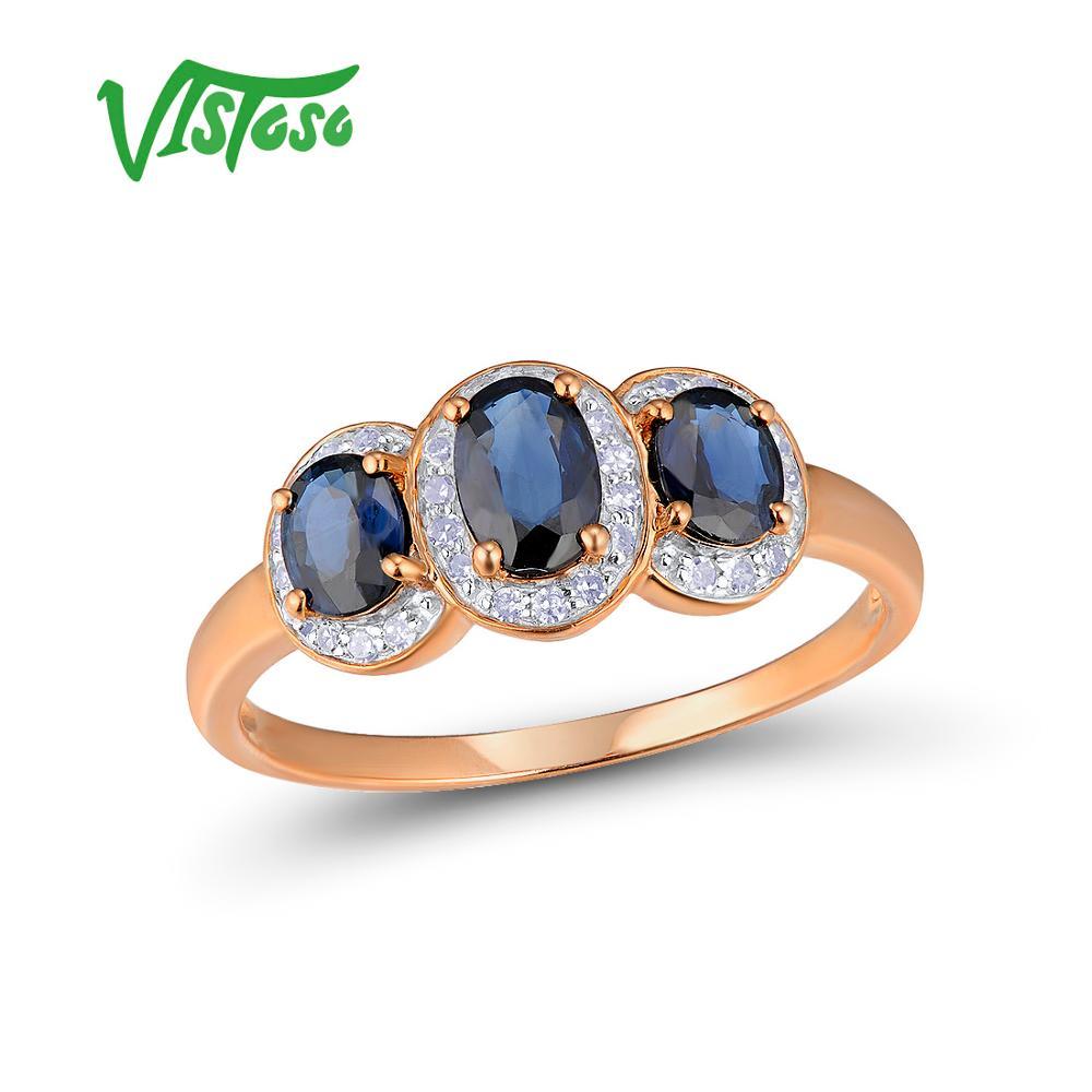 VISTOSO Oro Anelli Per Le Donne Genuino 14 k 585 Oro Rosa Scintillante Anello di Diamanti Blu Zaffiro di Fidanzamento Anniversario Gioielleria Raffinata