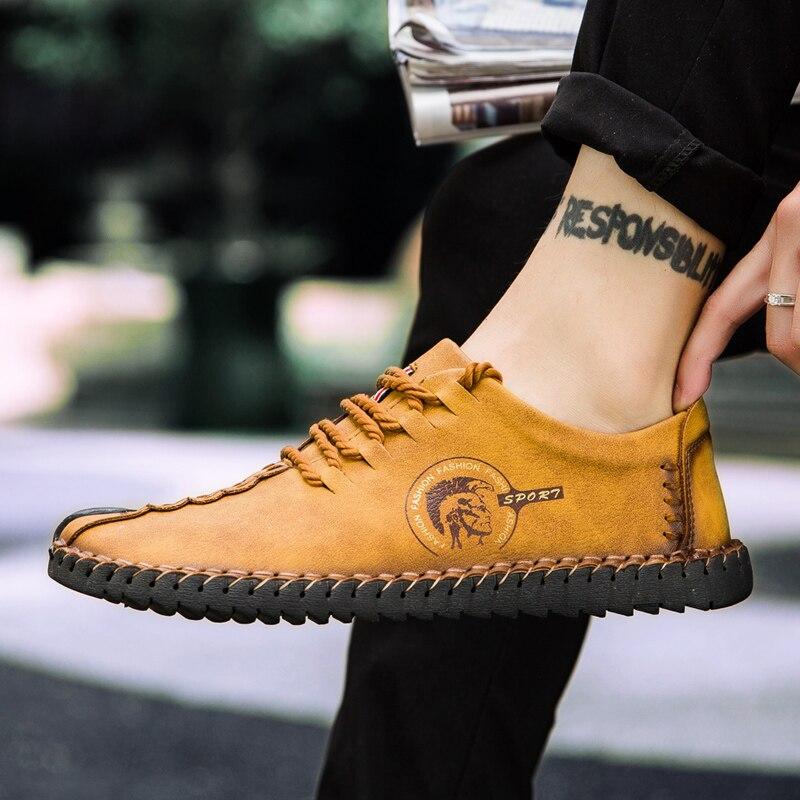 2019 neue Bequeme Beiläufige Schuhe Männer Müßiggänger Schuhe Qualität Split Leder Schuhe Männer Wohnungen Heißer Verkauf Mokassins Schuhe