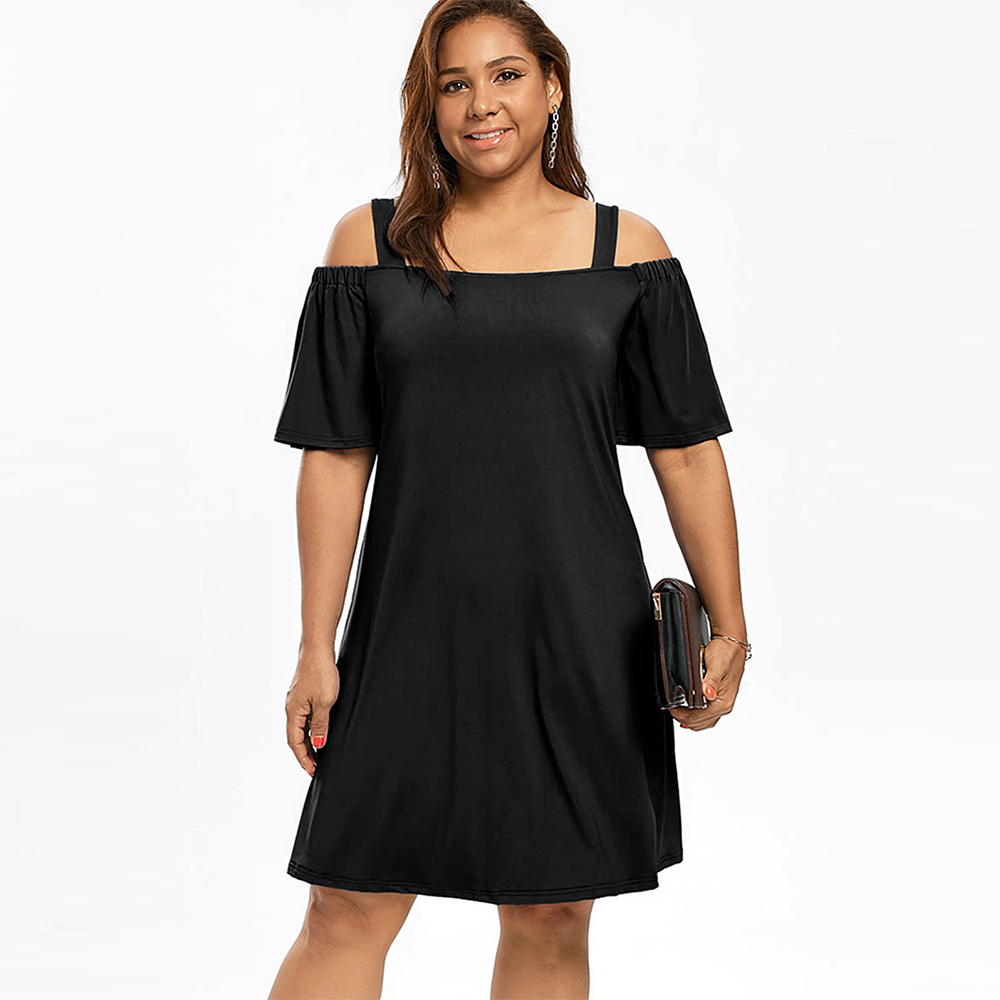 US $16.64 30% OFF|Rosegal Plus Size Cold Shoulder Half Sleeve Dress A Line  Cold Shoulder Solid Black Dress Casual Simple style-in Dresses from Women\'s  ...