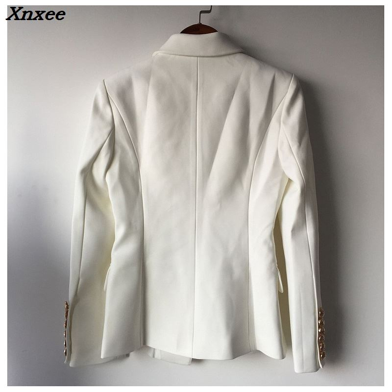 Fashion Blazer Jacket Fall Winter Women's Suit Double Breasted Metal Lion Buttons Slim Overcoat Xnxee