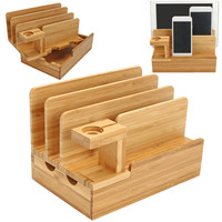 Bamboo Wooden Charging Dock Station Mobile Phone Stand Charger Holder Storage Table For Phone X 8 7 Plus 6 6S Plus 5s For Watch