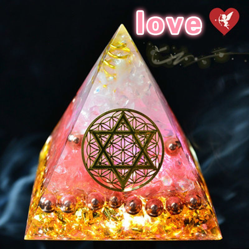 AURA REIKI Orgonite Energy Pyramid Helps Love Bring Good Luck To Change Magnetic Field Resin Decorative Craft Jewelry Gift