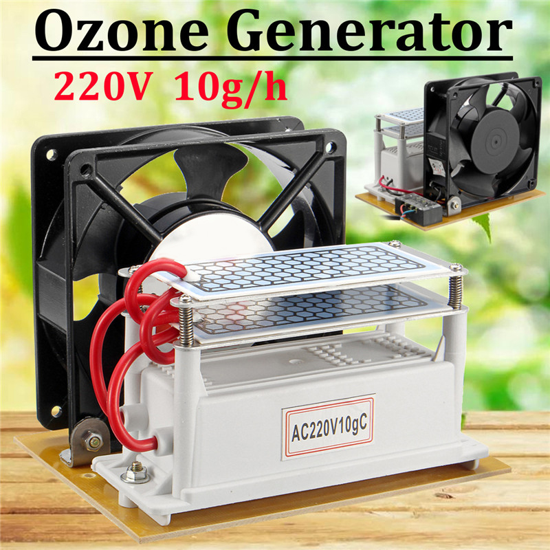 220V 10g/h Ozone Generator With Double Sheet Ceramic Plate Air Purifier Sterilizer Fan Machine Air Conditioning Appliance New 220v 10g h ozone generator air purifier machine ceramic plate sterilizer fan