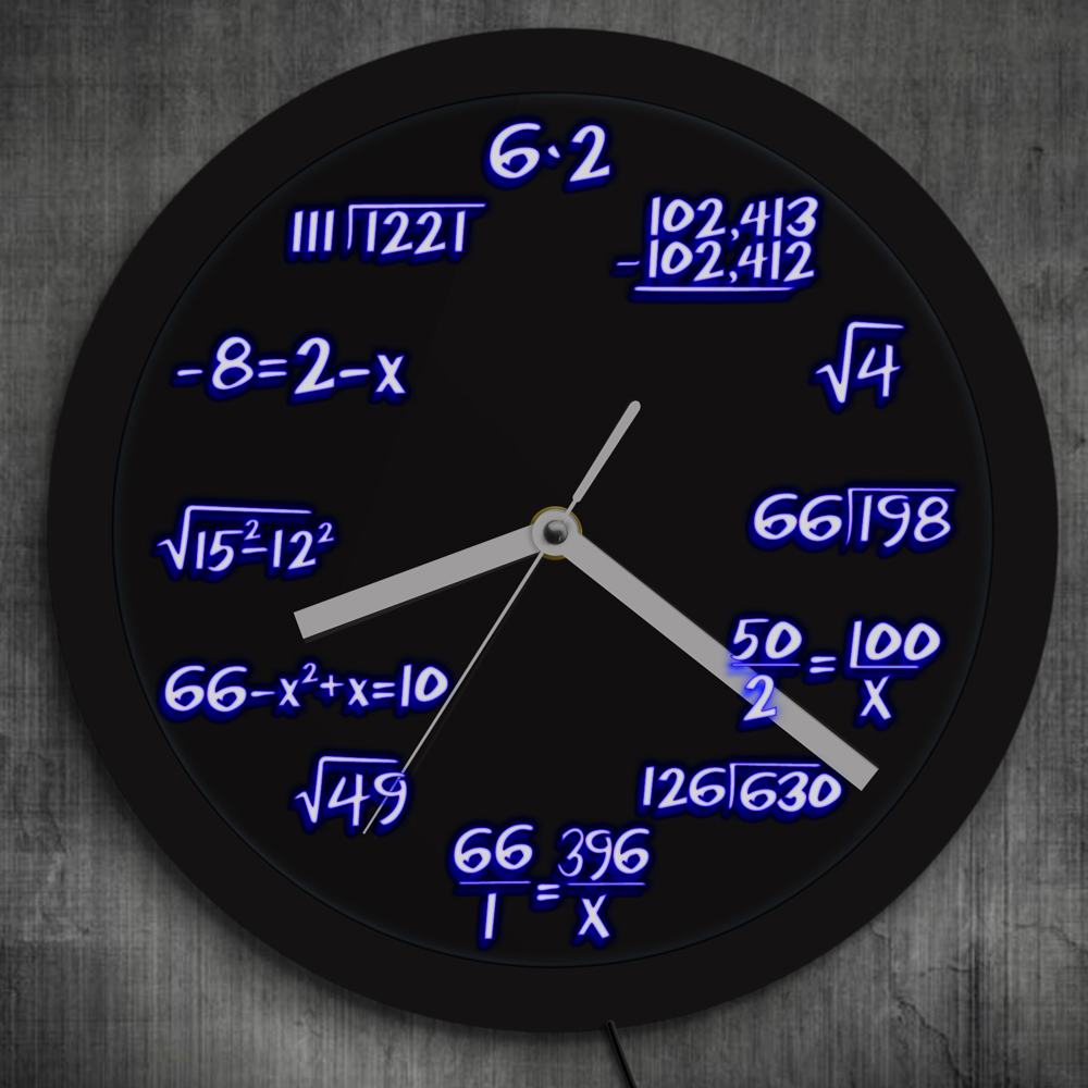Math Formula Pop Equation Neon Luminous Wall Clock Scicence Math Wall Clock Wall Watch With Color Changing For Math Lover