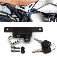 For BMW R Nine T Models 2017 2018 Motorcycle Helmet Lock Mount Hook Black Right Side Anti theft Security with 2 Keys