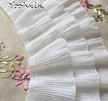 12cm Wide Black White Elastic Pleated Chiffon Lace Ruffle Trim Ribbon 3d Applique Guipure Women Dresses Curtains Hem Decoration pleated knot ruffle hem strap denim dress