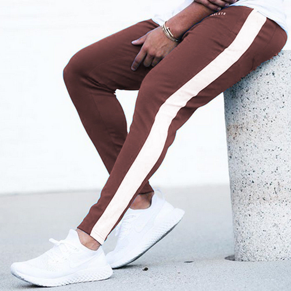 New Pants Men Casual Long Sports Pants Casual  Slim Skinny Fitness Workout Pockets Striped  Trousers  Sweatpants