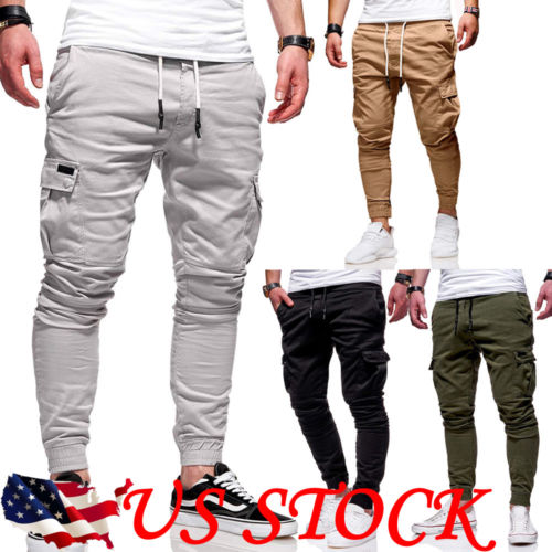 US Men Sport Pant Long Trousers Tracksuit Fitness Workout Gym Sweatpants