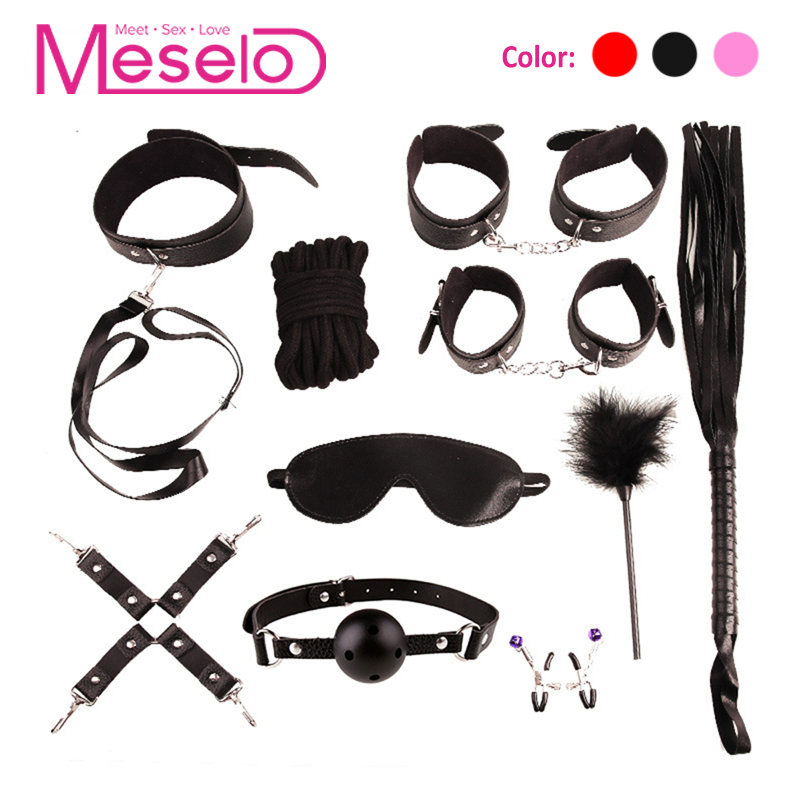 Meselo 10 Pcs/set Plush / PU Leather BDSM <font><b>Sex</b></font> Bondage Set <font><b>Hand</b></font> Cuffs Footcuff <font><b>Whip</b></font> Rope Blindfold Erotic <font><b>Sex</b></font> Toys For Couples image