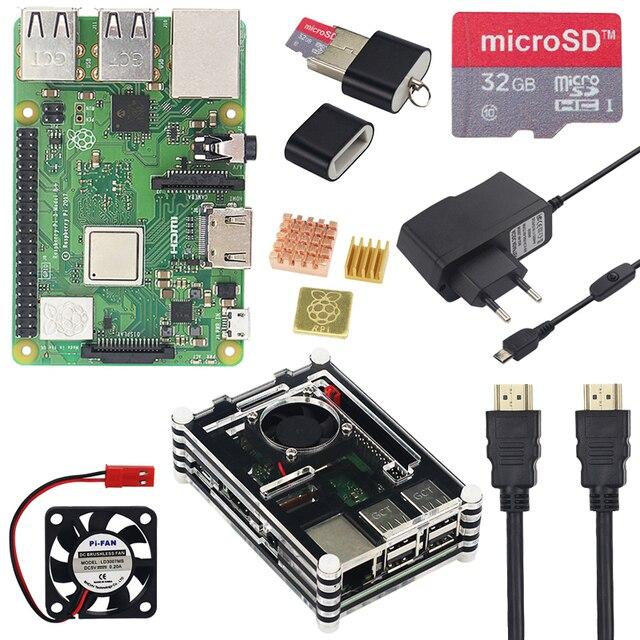Raspberry Pi 3 Model B + плюс стартовый комплект + 9 слоев акриловый чехол + вентилятор + 16 SD картой памяти на 32 ГБ + переключатель Мощность + HDMI + GPIO + радиаторы