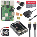 Raspberry Pi 3 Model B+ Plus Starter Kit + 9 layer Acrylic Case + Fan +16 32GB SD Card + Switch Power + HDMI + GPIO + Heatsinks