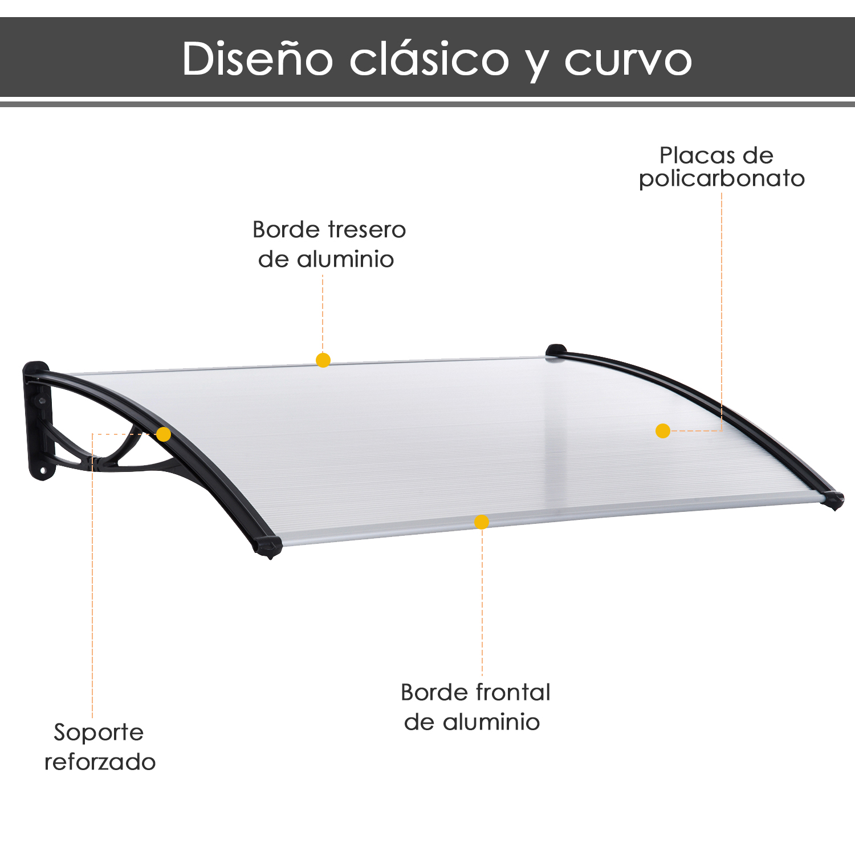 Outsunny Marquesina Tejadillo para Puertas Ventanas Toldo Terrazas de Policarbonato 5 mm Transparente Protecci/ón contra Sol y Lluvia 90x295x25cm