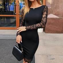 1281ca32b Simplee Sexy bordado encaje vestido Vestido de manga larga de las mujeres  bodycon negro plus tamaño vestido de fiesta elegante h.